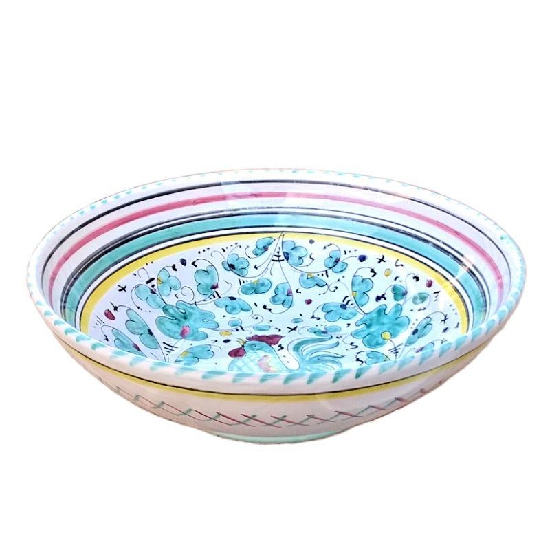 Bolo insalatiera ceramica maiolica Deruta dipinto a mano decoro Gallo Verde Orvietano