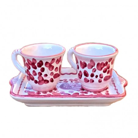 Coffee Service Deruta majolica ceramic hand painted with 2 cups and tray with red Arabesque decoration