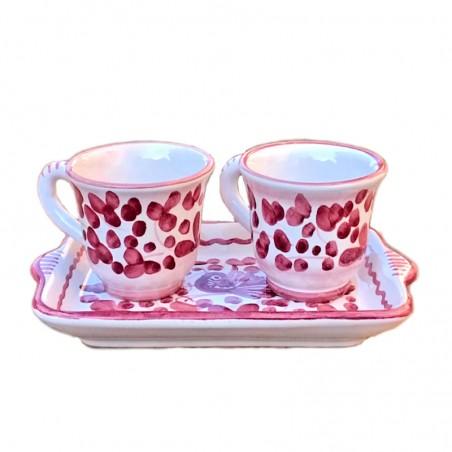 Servizio Caffè ceramica maiolica Deruta dipinto a mano con 2 tazze e vassoio decoro arabesco rosso