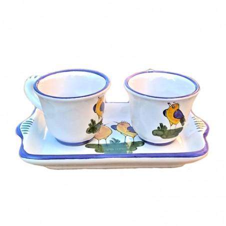 Servizio Caffè ceramica maiolica Deruta dipinto a mano con 2 tazze e vassoio decoro uccellino