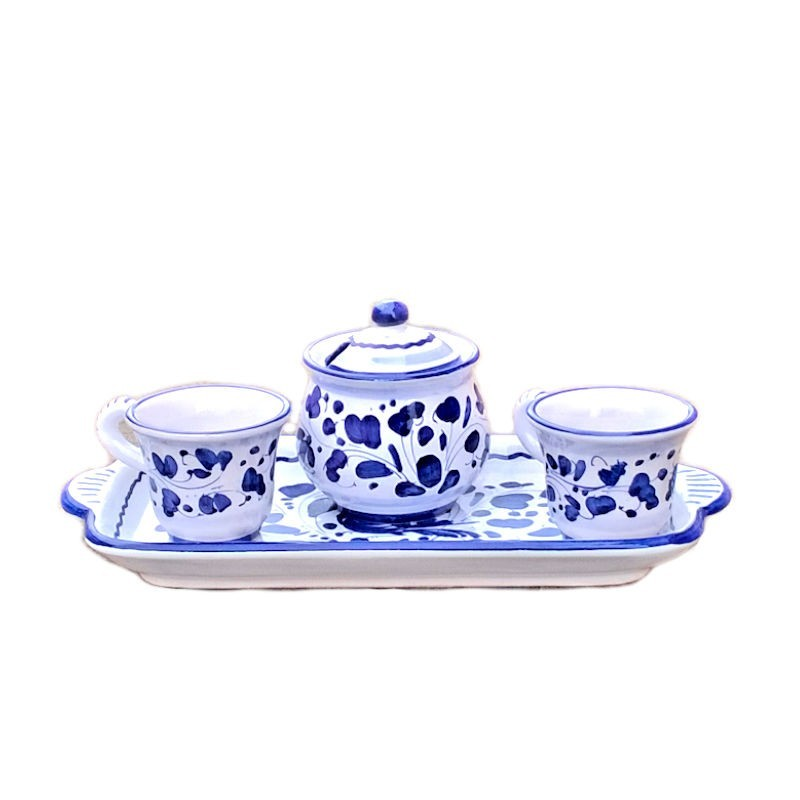 Servizio caffè ceramica maiolica Deruta dipinto a mano 2 tazze zuccheriera e vassoio decoro arabesco blu