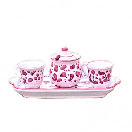 Servizio caffè ceramica maiolica Deruta dipinto a mano 2 tazze zuccheriera e vassoio decoro arabesco rosso