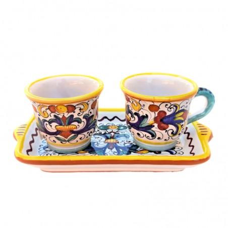 Servizio Caffè ceramica maiolica Deruta dipinto a mano con 2 tazze e vassoio decoro Ricco Deruta Giallo