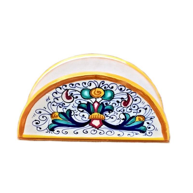 Portatovaglioli ceramica maiolica Deruta dipinto a mano decoro Ricco Deruta Giallo mezza luna