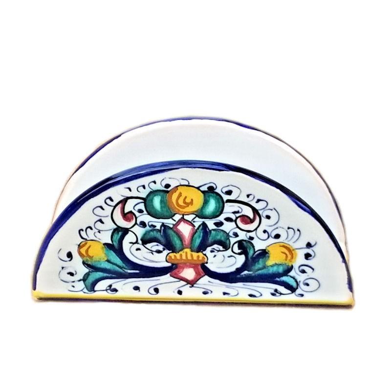 Portatovaglioli ceramica maiolica Deruta dipinto a mano decoro Ricco Deruta Blu mezza luna