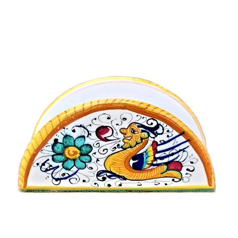 Portatovaglioli ceramica maiolica Deruta dipinto a mano decoro Raffaellesco mezza luna