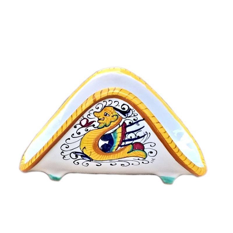 Portatovaglioli ceramica maiolica Deruta dipinto a mano decoro Raffaellesco
