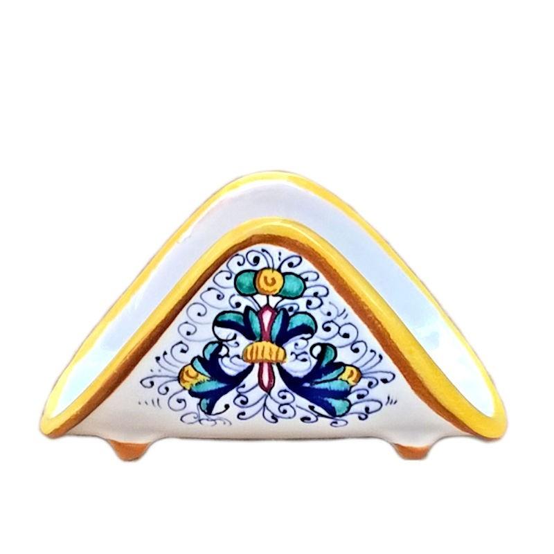 Portatovaglioli ceramica maiolica Deruta dipinto a mano decoro Ricco Deruta Giallo