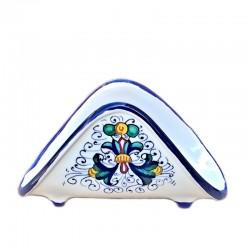 Portatovaglioli ceramica maiolica Deruta dipinto a mano decoro Ricco Deruta Blu