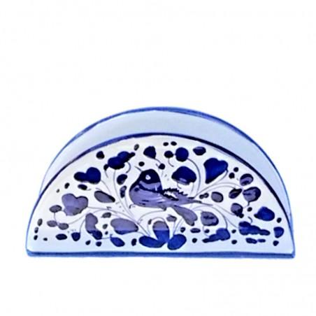 Portatovaglioli ceramica maiolica Deruta dipinto a mano decoro Arabesco Blu mezza luna