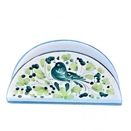 Portatovaglioli ceramica maiolica Deruta dipinto a mano decoro Arabesco Verde mezza luna
