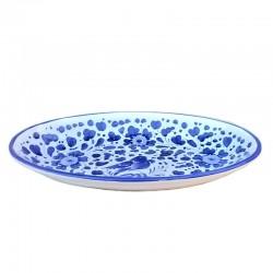 Vassoio ceramica maiolica Deruta dipinto a mano da portata ovale decoro Arabesco blu