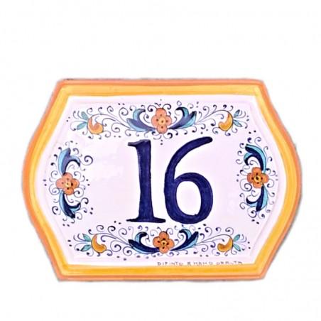 Numero civico ceramica maiolica Deruta dipinto a mano bordo giallo