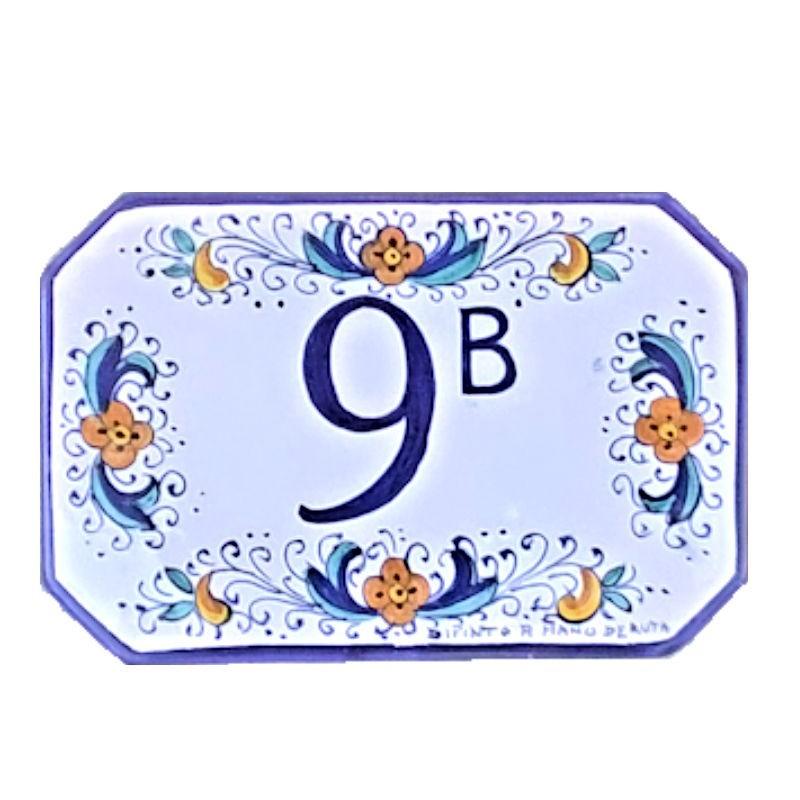 House number ceramic majolica Deruta hand painted Classic Blue Border decoration