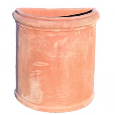 Vaso da parete in terracotta liscio lavorato a mano modello Assisi