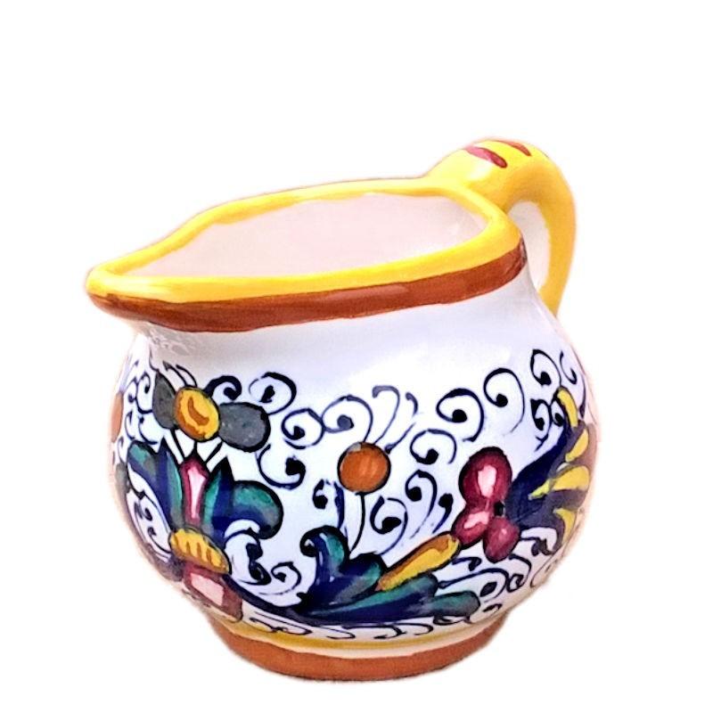 Lattiera ceramica maiolica Deruta dipinta a mano decoro Ricco Deruta giallo