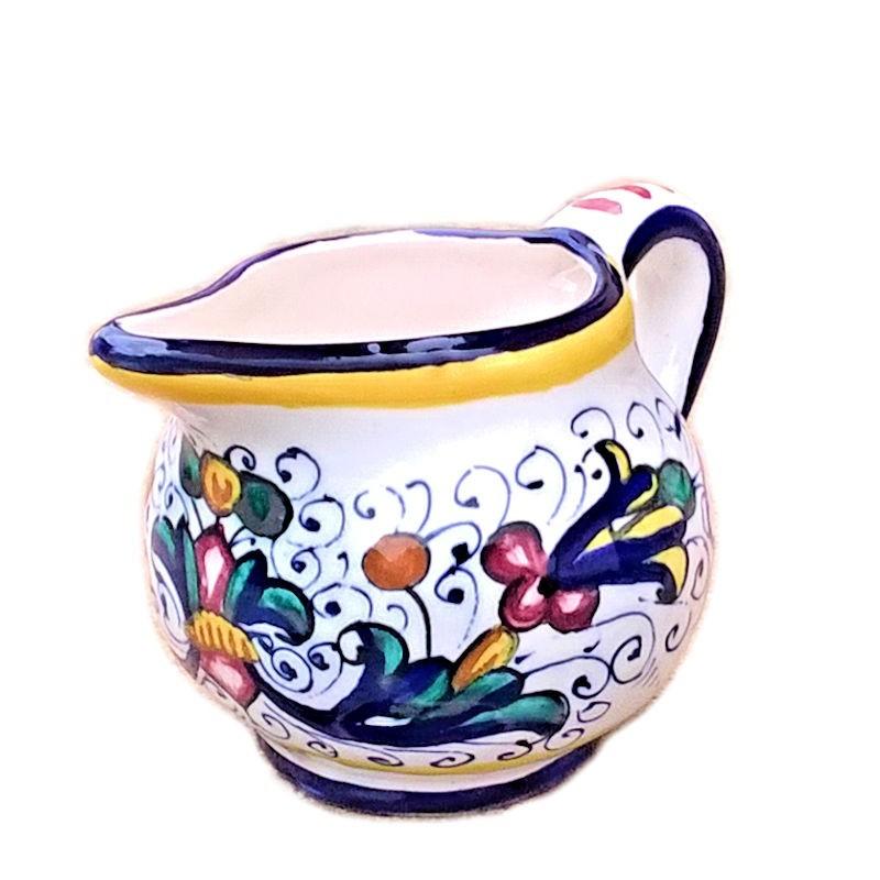 Lattiera ceramica maiolica Deruta dipinta a mano decoro Ricco Deruta blu