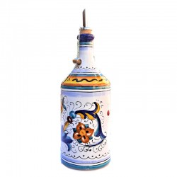Oliera ceramica maiolica Deruta cilindrica dipinta a mano decoro Ricco Deruta Blu