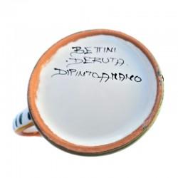 Bicchiere tazza ceramica maiolica Deruta dipinto a mano decoro Ricco Deruta Blu