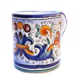 Glass Mug majolica Deruta hand painted Rich Deruta Blue decoration
