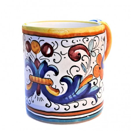 Bicchiere tazza ceramica maiolica Deruta dipinto a mano decoro Ricco Deruta Giallo