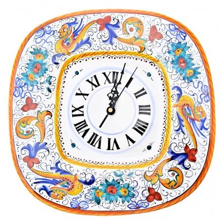Orologio ceramica maiolica Deruta da parete dipinto a mano decoro Raffaellesco quadrato
