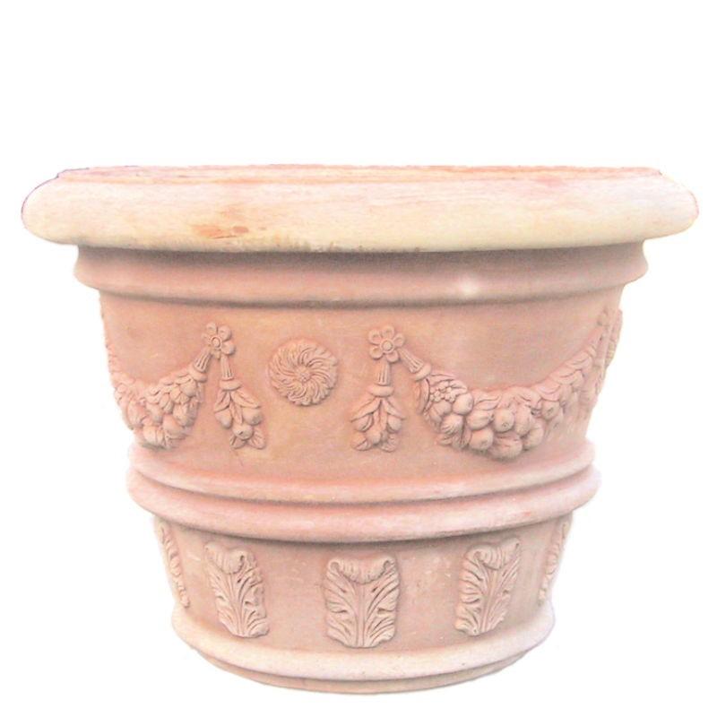 Grande vaso classico decorato in terracotta lavorato a mano