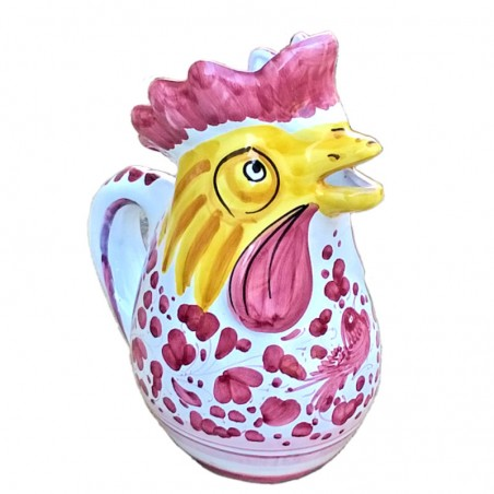 Brocca Gallo ceramica maiolica Deruta dipinto a mano decoro Arabesco Rosso