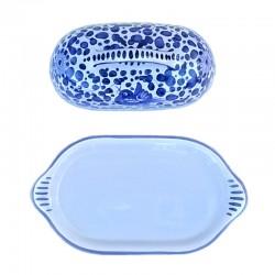 Burriera ceramica maiolica Deruta dipinta a mano decoro Arabesco Blu
