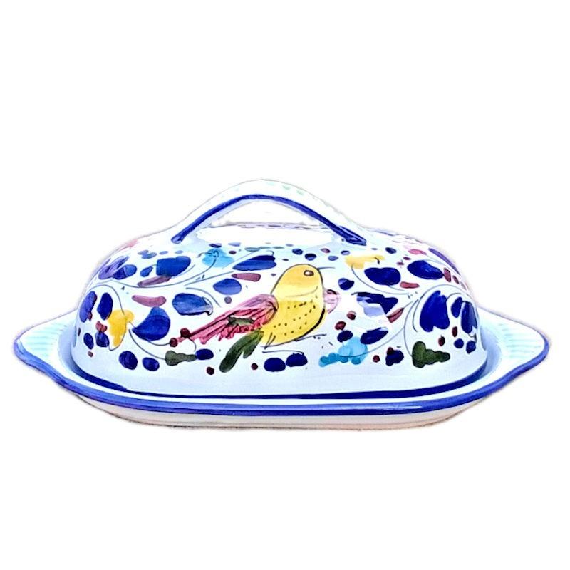 Burriera ceramica maiolica Deruta dipinta a mano decoro Arabesco colorato