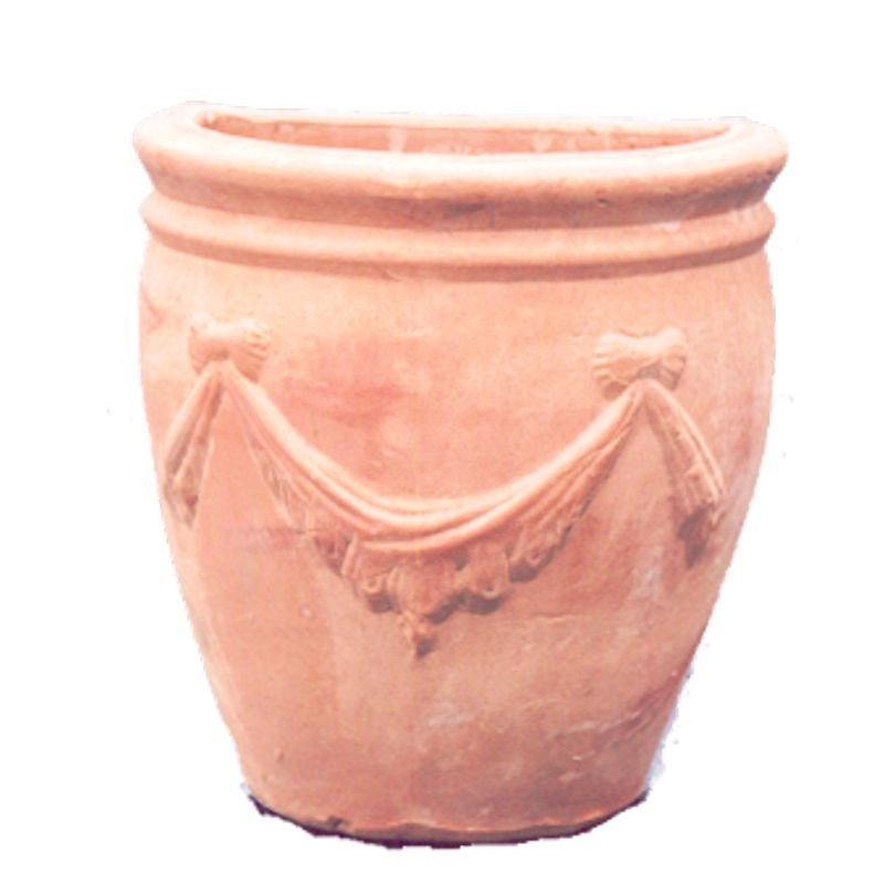 Vaso da parete in terracotta con festone lavorato a mano modello anfora