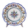 Piatto tavola ceramica maiolica Deruta dipinto a mano decoro ricco Deruta blu centrino smerlato