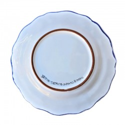 Piatto tavola ceramica maiolica Deruta dipinto a mano decoro ricco Deruta blu smerlato