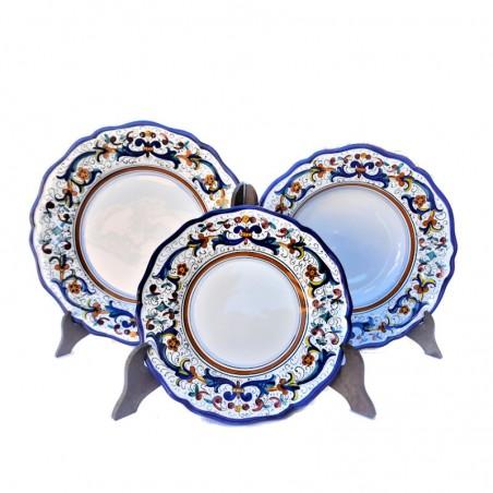 Servizio piatti tavola ceramica maiolica Deruta dipinto a mano decoro ricco Deruta blu sagomato