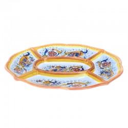 Antipastiera ceramica maiolica Deruta 5 scomparti decoro Raffaellesco ovale