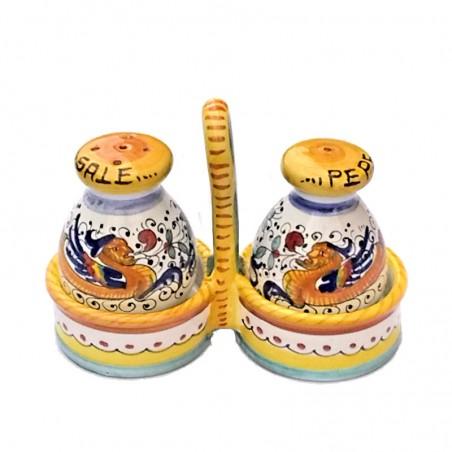 Salt pepper set Deruta majolica ceramic hand painted Raphaelesque decoration