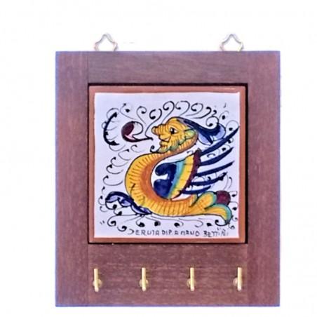 Appendino ceramica maiolica Deruta con cornice in legno decoro Raffaellesco Cm. 14
