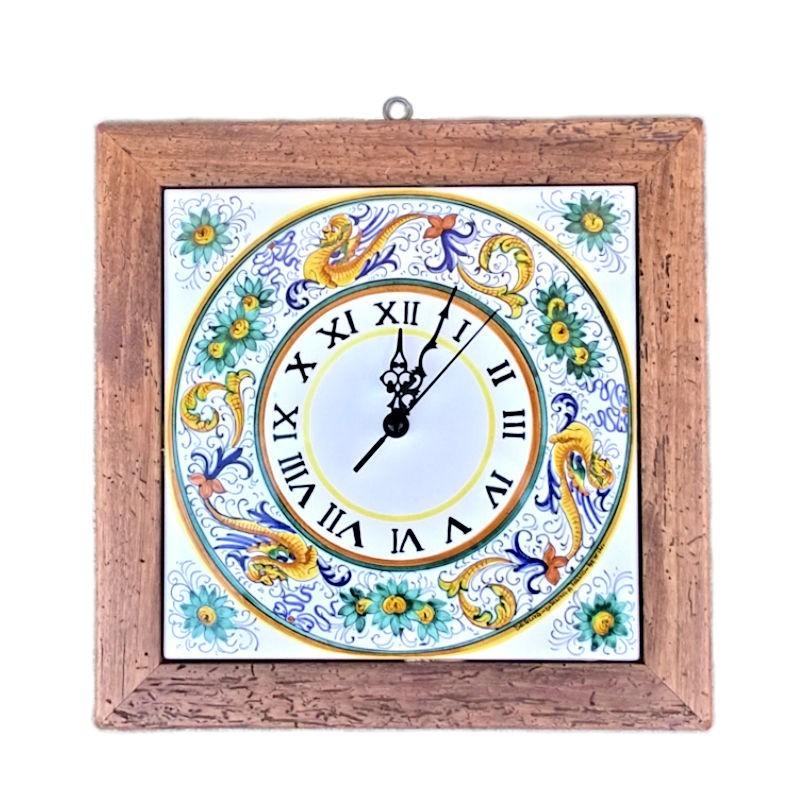 Orologio da parete ceramica maiolica Deruta con cornice in legno antico dipinto a mano decoro Raffaellesco