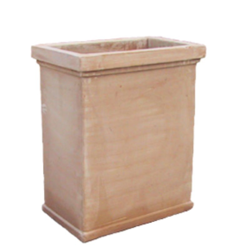 Cassetta rettangolare alta liscia in terracotta lavorata a mano
