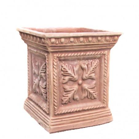 Vaso quadrato in terracotta con foglia lavorato a mano Cm. 30