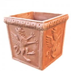 Square terracotta vase with...