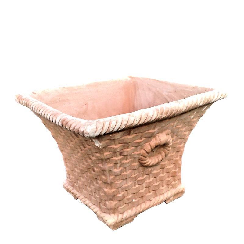 Vaso quadrato terracotta cesta Intrecciata con anelli lavorato a mano