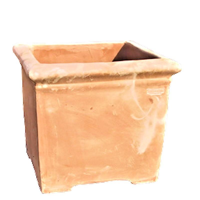 Vaso quadrato liscio con piedini in terracotta lavorato a mano Cm. 50