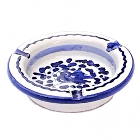 Posacenere ceramica maiolica Deruta dipinto a mano decoro arabesco blu rotondo