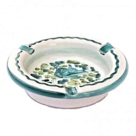 Posacenere ceramica maiolica Deruta dipinto a mano decoro arabesco verde rotondo