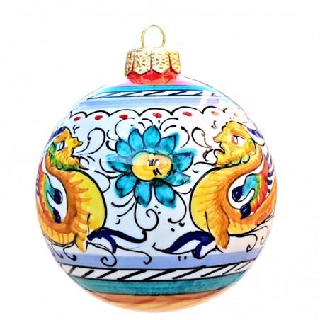 Palla di Natale ceramica maiolica Deruta dipinta a mano decoro Raffaellesco