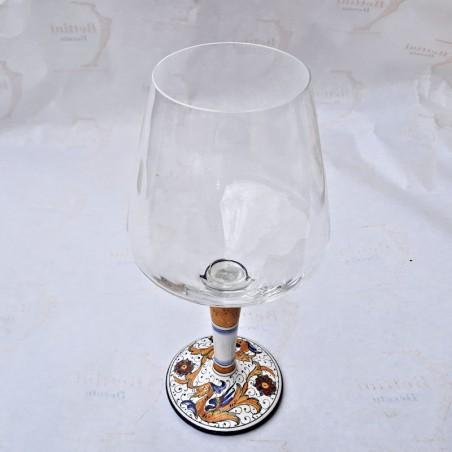 Calice vetro ceramica maiolica Deruta dipinto a mano decoro Raffaellesco