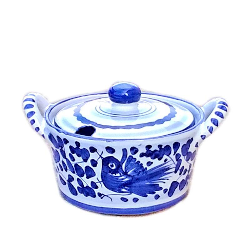 Formaggiera ceramica maiolica Deruta dipinta a mano decoro Arabesco Blu