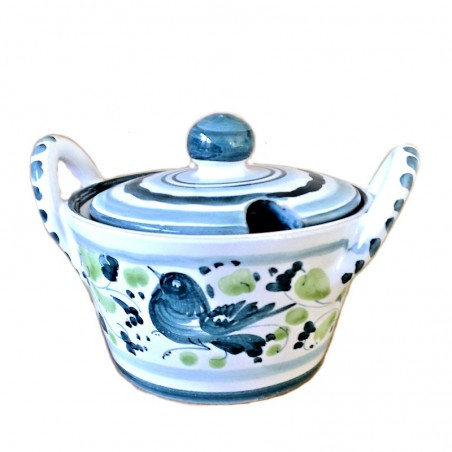 Deruta majolica cheese bowl hand painted with Green Arabesque decoration