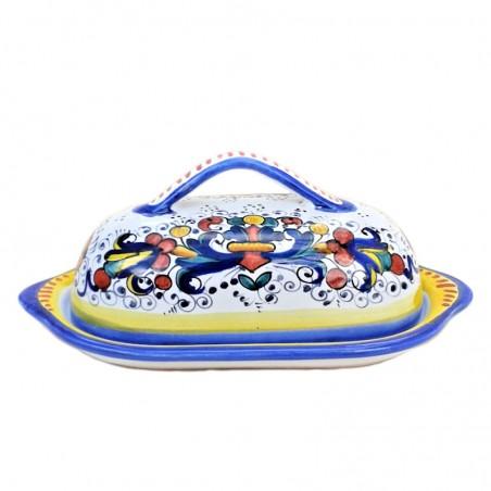 Burriera ceramica maiolica Deruta dipinta a mano decoro Ricco Deruta Blu